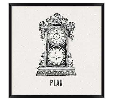 """Vintage Office Icons Framed Print, Plan, 20 x 20"""" - Pottery Barn"""