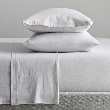 Cotton Jersey Cloud Sheet Set, King, Light Heather Gray - West Elm