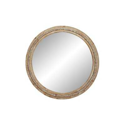"""Oakton 36"""" Large Round Natural Wood Wall Mirror with Decorative Wood Beads - Wayfair"""