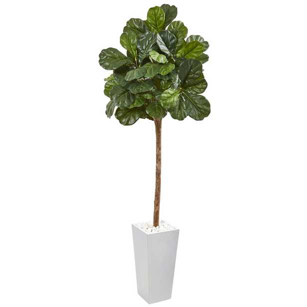 Nearly Natural 75 in. Fiddle Leaf Fig Artificial Tree in White Planter - Home Depot