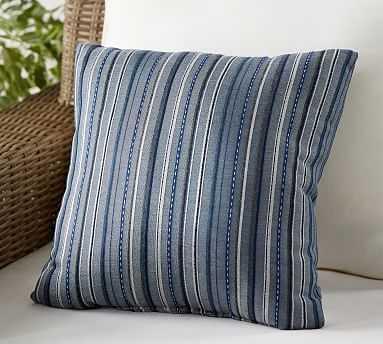 "Outdoor Sunbrella Neuberry Stripe Pillow, 18"", Blue Multi - Pottery Barn"