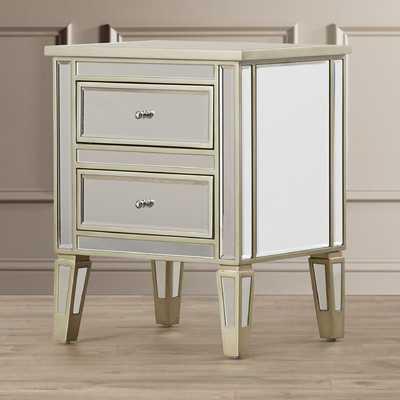 Borkholder Mirrored 2 Drawer End Table - Wayfair