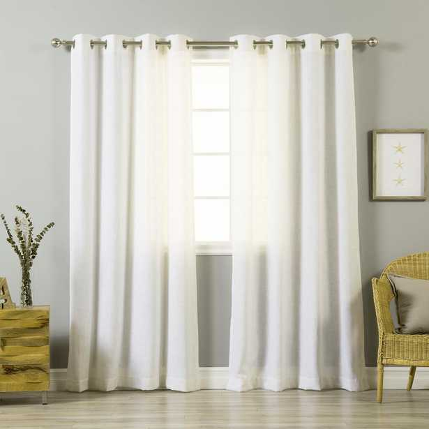 Best Home Fashion 84 in. L Optic White Linen Blend Curtain Panel (2-Pack) - Home Depot