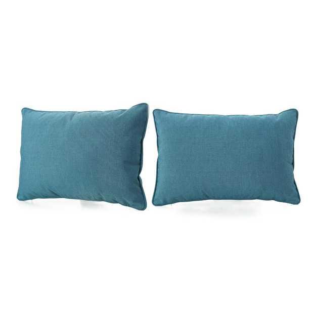 Noble House Amaris Teal (Blue) Lumbar Outdoor Throw Pillow (2-Pack) - Home Depot