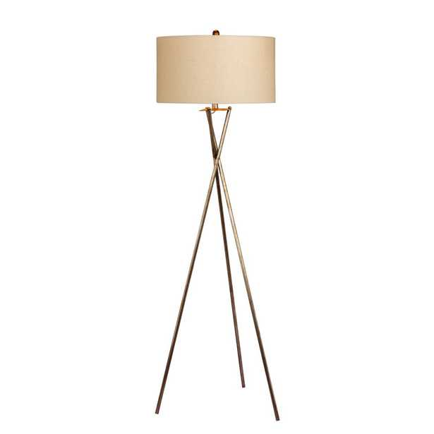 Fangio Lighting 63.5 in. Industrial Tripod Metal Floor Lamp in a Rusted Silver - Home Depot