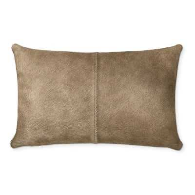 """Solid Hide Lumbar Pillow Cover, 14"""" X 22"""", Brown - Williams Sonoma"""