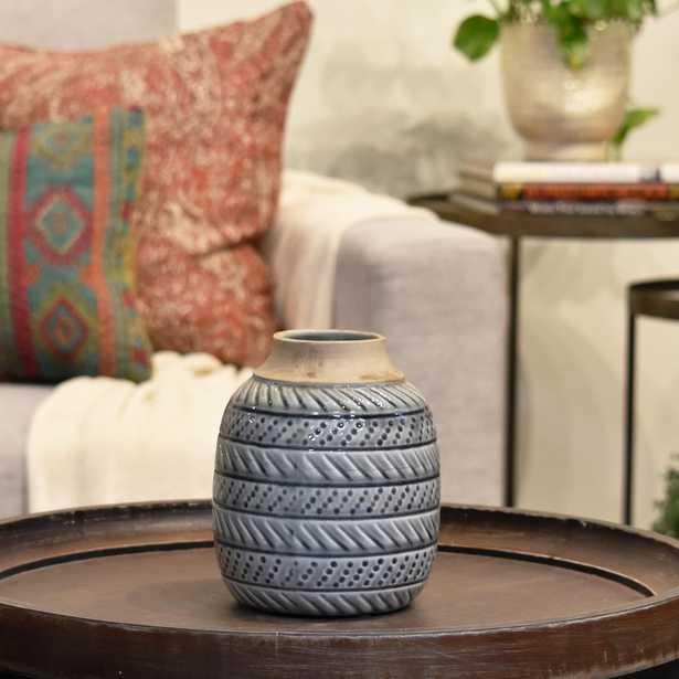 Gray, Brown Gloss Ceramic Decorative Vase, Grays - Home Depot