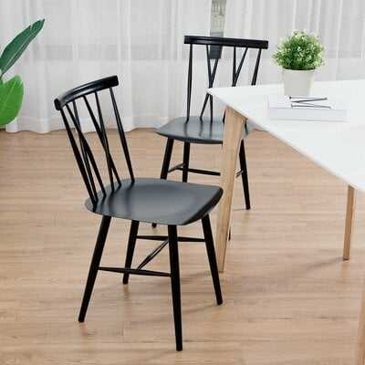 Encinal Set of 2 Dining Side Chairs Tolix Chairs Armless Cross Back Kitchen Bistro Cafe - Wayfair