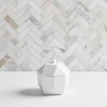 Faceted Porcelain Canister, White - West Elm