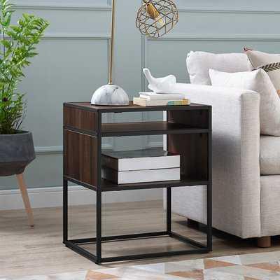 Nowak Metal and Wood End Table - Wayfair