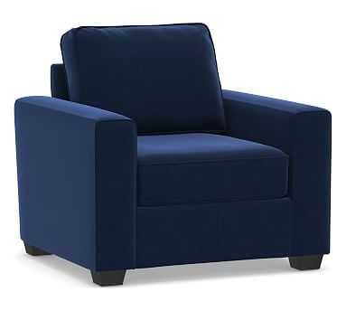 SoMa Fremont Square Arm Upholstered Armchair, Polyester Wrapped Cushions, Performance Everydayvelvet(TM) Navy - Pottery Barn