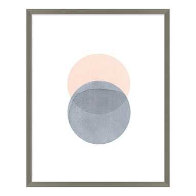 """Blush and Gray Round Abstract Stones Framed Art, Gray Frame, 20""""x25"""" - Pottery Barn Teen"""