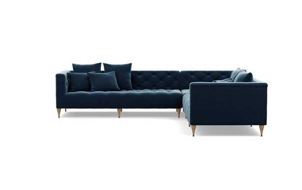 Ms. Chesterfield Corner Sectional with Blue Sapphire Fabric and Natural Oak with Antique Cap legs - Interior Define