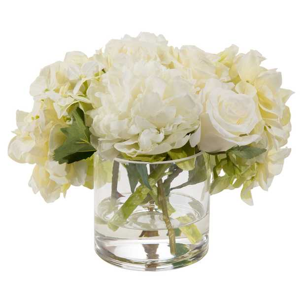 John-Richard Classic White Glass Cylinder Faux Floral Arrangement - Kathy Kuo Home