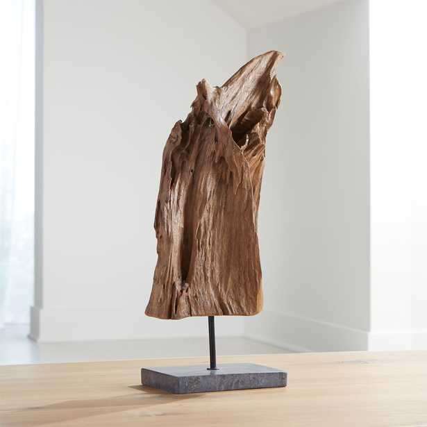 Teak Sculpture on Stand - Crate and Barrel