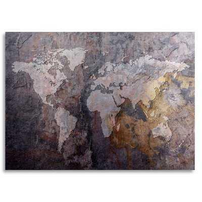 'World Map - Rock' Graphic Art on Metal - Wayfair