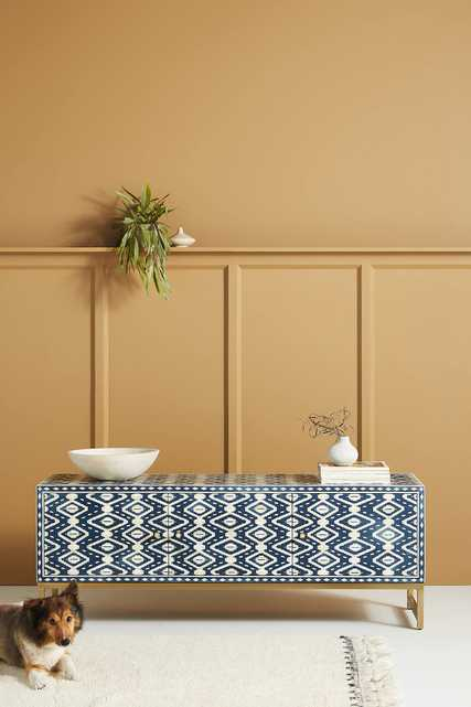 Ikat Inlay Media Console - Anthropologie