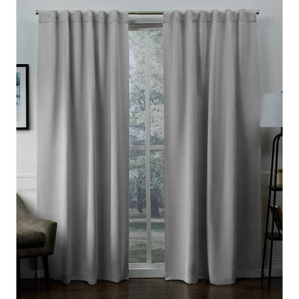 Exclusive Home Curtains Sateen Silver Woven Blackout Hidden Tab Top Curtain - 52 in. W x 96 in. L - Home Depot