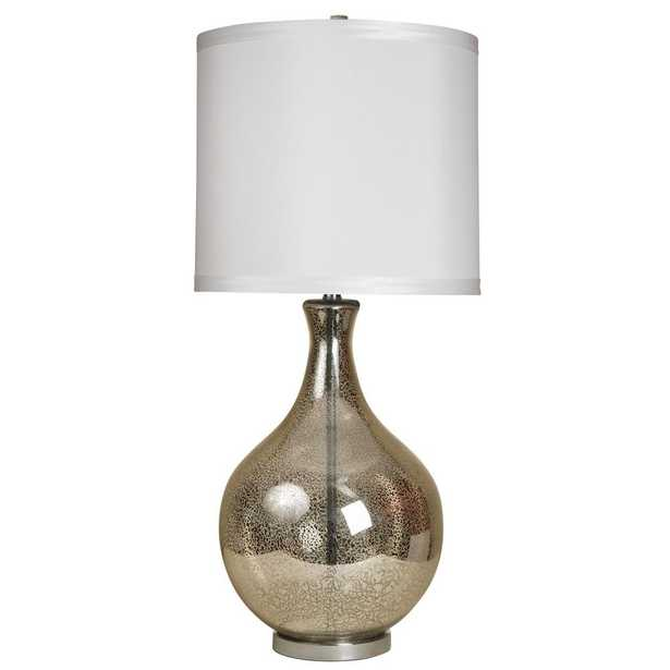 StyleCraft 35.5 in. Mercury Table Lamp with White Hardback Fabric Shade - Home Depot