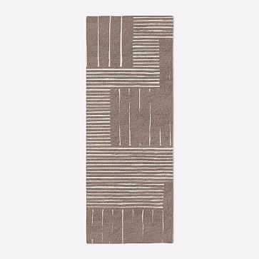 MTO Painted Mixed Stripes Rug, Rosette, 2.5x7 - West Elm