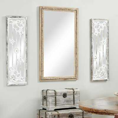 "Dagenham Large Rectangular Whitewashed Wood Wall Mirror W/ Decorative Wood Beads, 28"" X 48 - Wayfair"