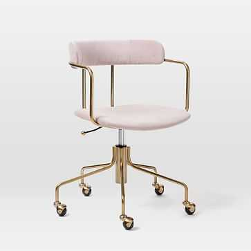 Lennox Office Chair Collection Blush/Blackened Brass Office Chair - West Elm