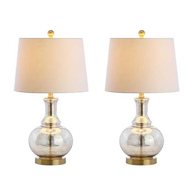 JONATHAN Y Lavelle 25 in. Mercury Silver/Brass Gold Glass Table Lamp (Set of 2) - Home Depot