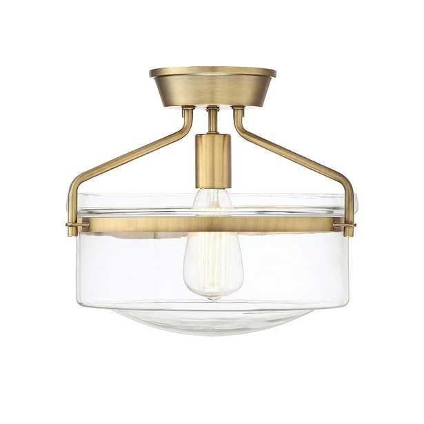 Filament Design 1-Light Natural Brass Semi-Flushmount with Clear Glass - Home Depot