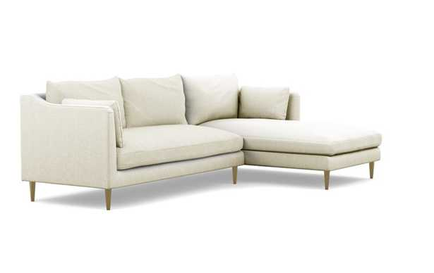 Caitlin by The Everygirl Right Sectional with White Vanilla Fabric and Brass Plated legs - Interior Define