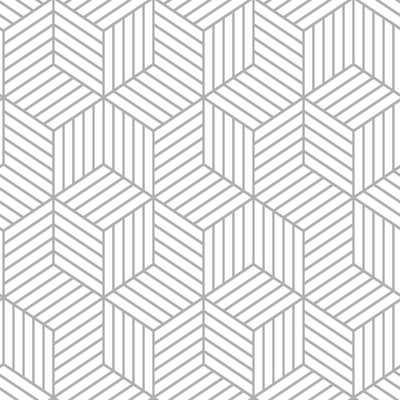 "Rumsey Striped Hexagon 16.5' L x 20.5"" W Geometric Peel and Stick Wallpaper Roll - AllModern"