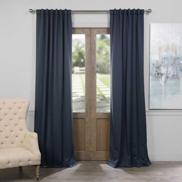 Exclusive Fabrics & Furnishings Semi-Opaque Nocturne Blue Blackout Curtain - 50 in. W x 96 in. L (Panel) - Home Depot