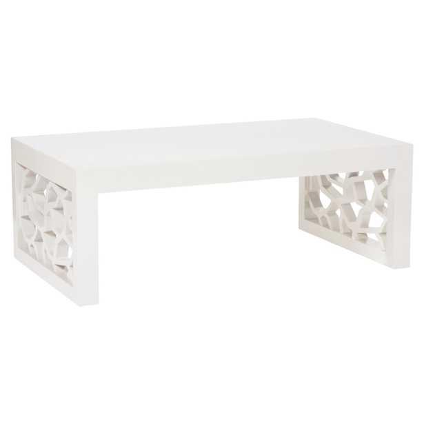 Vanguard Branch Modern Classic Wood Snow White Rectangular Coffee Table - Kathy Kuo Home