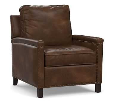 Tyler Square Arm Leather Power Recliner with Bronze Nailheads, Down Blend Wrapped Cushions, Vintage Cocoa - Pottery Barn