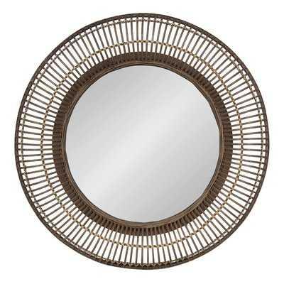 Fleeton Round Rattan Frame Accent Wall Mirror - Wayfair