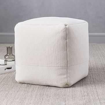 """Cotton Canvas Pouf, 16""""x16""""x17"""", Stone White - West Elm"""