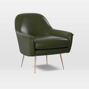 Phoebe Chair, Heritage Leather, Verdant, Brass - West Elm