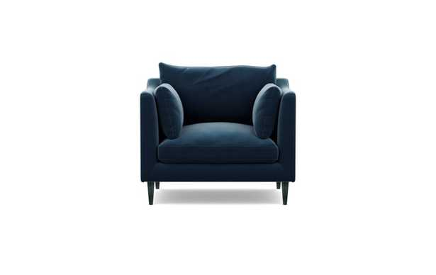 Caitlin by The Everygirl Chairs with Sapphire Fabric and Unfinished GunMetal legs - Interior Define