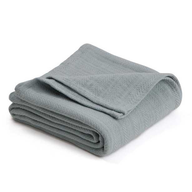 Woven Gray Mist Cotton Full/Queen Blanket - Home Depot