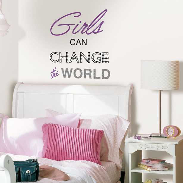 Purple Girls Can Change The World Wall Quote - Home Depot