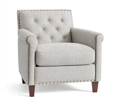 SoMa Roscoe Upholstered Tufted Armchair, Polyester Wrapped Cushions, Basketweave Slub Ash - Pottery Barn