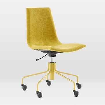 Slope Swivel Office Chair, Basketslub, Dark Horseradish - West Elm