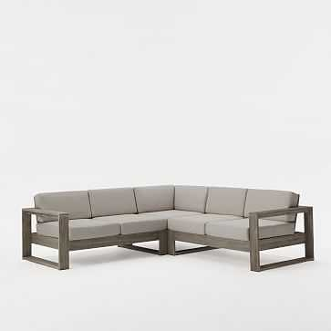 Portside 3-Piece Sectional (Left Arm Sofa + Corner + Right Arm Sofa), Weathered Gray - West Elm