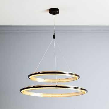 LED Hoop Chandelier, Double, Antique Bronze - West Elm