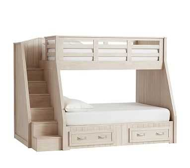 Belden Twin over Full Stairloft Bunk, Weathered White, Flat Rate - Pottery Barn Kids