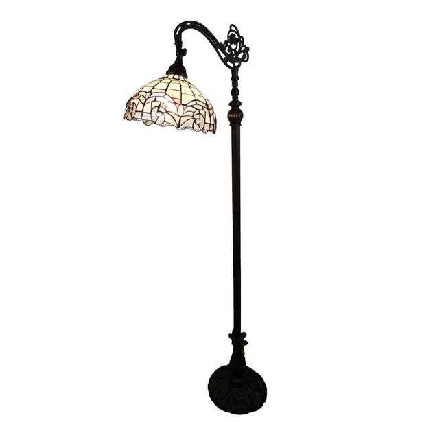 Amora Lighting 62 in. Tiffany Style Reading Floor Lamp - Home Depot