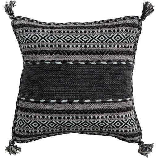 "Azariah Pillow Cover, 22""x 22"", Black - Roam Common"