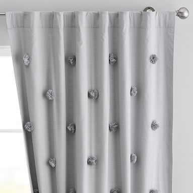 "Pom Pom Applique Blackout Curtain, 96"", Light Gray - Pottery Barn Teen"