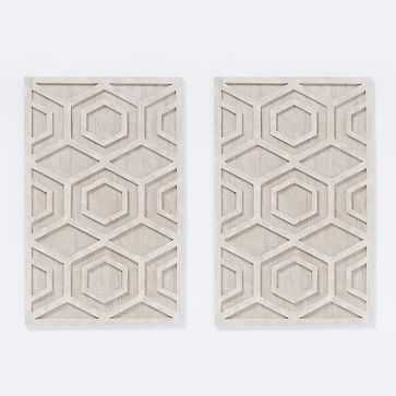 Graphic Wood Wall Art, Whitewashed, Hexagon, Set of 2 - West Elm