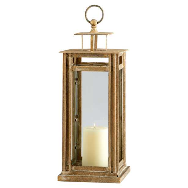 Abe Rustic Lodge Antique Gold Iron Glass Lantern Candleholder - Small - Kathy Kuo Home