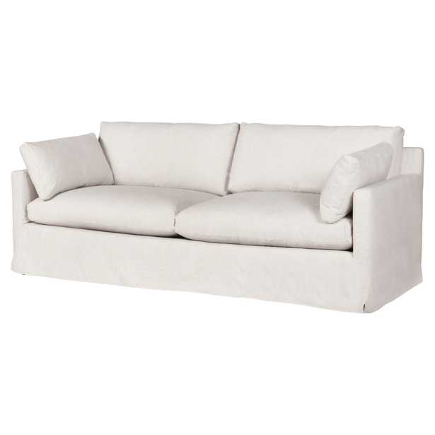 Cisco Brothers Louis Modern Classic Beige Linen Slipcovered Sofa - 90 inch - Kathy Kuo Home